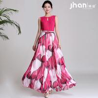 2014 one-piece dress female spaghetti strap separate expansion bottom bohemia chiffon long design full dress xf-088