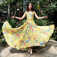 2015 one-piece dress female full dress summer expansion skirt