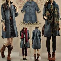 Women spring and autumn casual medium-long loose one-piece dress denim trench casual dresses dual purpose women dress