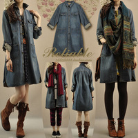 Women spring and autumn casual medium-long loose one-piece dress denim trench casual dresses dual purpose women dress