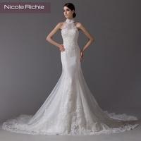 2014 fashion elegant sweet halter-neck lace sexy fish tail short trailing the bride wedding dress
