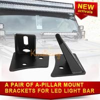 A Pair of Universal A-Pillar bracket of LED Light Bar For Jeep Wrangler for JK 07-13 Windshield Spotlight Mount bracket Aluminum
