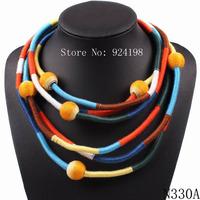 fashion 2014 new design handmade bib statement colorful necklace choker for women autumn jewelry 2 model