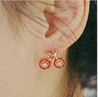 Creative fashion drill  cute bike  earrings