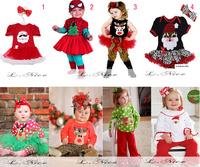 Kids Baby Newborn Toddler Girl Child Red Green White Christmas XMAS Reindeer Santa Claus T Shirt Pant  Dress Outfit  H0140849