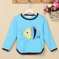 Free Shipping Hot new 5pcs/lot Kids boys girls fish t shirt hoodies clothing kids fish autumn t shirt clothes wholesale