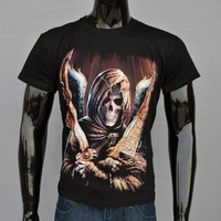 Free Shipping! Fashion Men's European And American Style Silk-Screen Printing 3D Skull T-Shirts S-XXL!