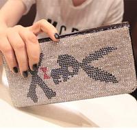 Free Shipping! Cool 2014 Fashion luxurious Crystal Stones Ghost Head Girl Women Long Leather Wallet Purse Handbag Phone Bag