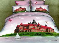 3D 100% cotton reactive print  4 pcs bedding set D113 one duvet cover+one bedsheet +2 pcs pillowcase home textile free shipping