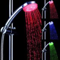 LED Shower Head Sprayer RGB 3Color Temperature Sensor Water Glow Bathroom Adjustable changing colors