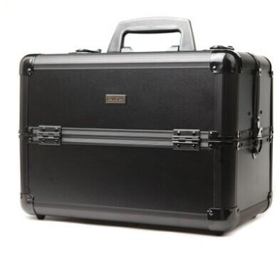 Black aluminum cosmetic case/professional makeup box/professional make-up box cosmetic box(China (Mainland))