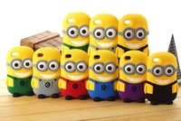 MOQ:1pcs Hot 3D Cute Cartoon Despicable Me Minion Soft Silicone Case Back Cover Case For iPhone 5s/4