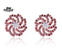 Spiral Red Crystal Zircon Flowers Earring Big Rhinestone Flowers Zircon Earring for Women ZC011ER