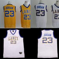 Free Shipping Plus Size S-XXL Michael Jordan Jerseys, Cheap Michael Jordan 23 LANEY Basketball Jersey Retro With White & Yellow