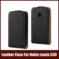 Black Color Deluxe Leather Case For Nokia Lumia 530 With Up And Down Flip Magnetic Closure For Nokia Lumia 530,Free Shipping