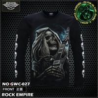 2014NEW Free Shipping   Glow In The Dark   Men's T-shirt Long Sleeve T-Shirt SKULL death guitar 100% Cotton