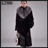 New genuine mink fur coat big sliver fox fur  collar extra long winter real fur coat for fashion women full sleeve