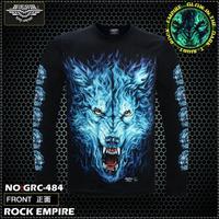 Free Shipping   Glow In The Dark  Men's o-neck T-shirt FULL Sleeve WOLF Rock T-shirt  100% Cotton