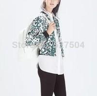 New Fashion Ladies' elegant Leopard print coat outwear zipper pockets Jacket long sleeve casual slim brand designer tops
