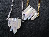 Bew Designed!Natural Clear Rainbow Quartz necklace with chain rock crystal point necklace 5pcs/lot