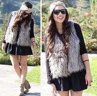 2014 new S~XXXL Women Faux Fur Vest Luxury Women Fur Waistcoat Short Single Button Fur Vest Elegant Natural Fur Vest