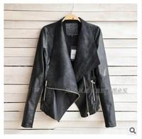 2014 New Arrival Women Leather Jacket Slim Leather Motorcycle Jacket Turn Dow Long Sleeve Zipper Jacket Coat Free Shipping