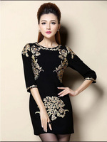 Spring Autumn Fashion Vintage Dresses Runway New  Half Sleeve Key Retro Print Dress Gold Silk Embroidery  Plus Size A132