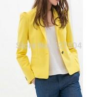 New Fashion Ladies' Elegant OL Blazer coat basic brief Single Button long sleeve work style outwear casual slim brand tops