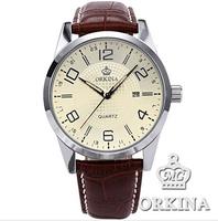 2014 New Rushed Watches Cartoon Orkina Fashion Male Clock Mens Relojes Genuine Leather Strap Single Army Watch Quartz Hardlex
