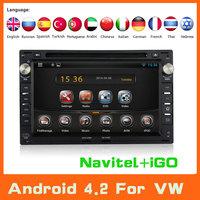 2 Din Android 4.2 Car DVD GPS Navigation For VW Polo Sedan Passat B5 Jetta Golf Bora Transporter T5 Audio Volkswagen Car Styling