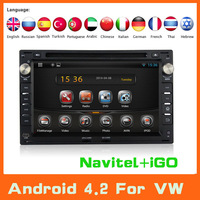 Pure Android 4.2 Car Radio Stereo DVD Player For VW Volkswagen Passat B5 Jetta Golf Bora Polo Sharan Transporter T4/T5 GPS Navi