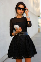 FS! 2014 NEW women Sexy Lace embroidered flowers tutu dress, ladies bodycon bandage black evening dress
