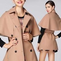 214 Autumn New Arrival Ladies' Elegant Cloak Wool Long Trench Coat Women's Khaki Winter Coat LCW11004