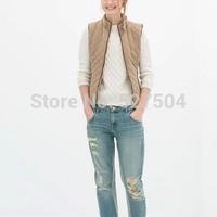 New Fashion Ladies' Elegant zipper pocket patchwork Vest coat padded casual vintage stylish slim outwear brand design tops