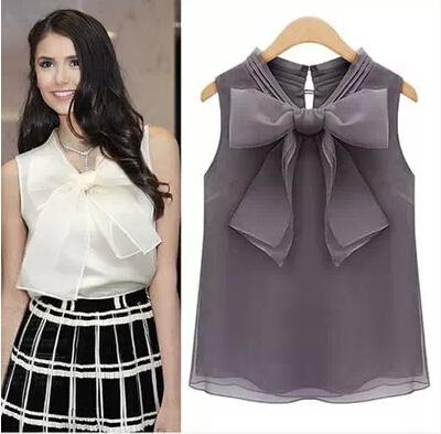 XL Summer fashion women sweet Organza big bow tie blouses shirt