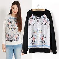 Women casual floral printed sweatshirt 2014 new autumn winter long sleeve pullover Sweatshirts Black /white hot saleH144929