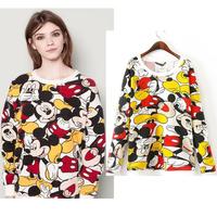 Mickey printed sweatshirt women 2014 new autumn fashion casual cartoon print Sweatshirts free shippingH144929