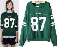 New Fashion Number 87Pattern Casual Pullover Sweatshirt Casacos Temperament Femininos Women Clothing Autumn/Winter Solid Hoodies