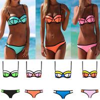 Sexy women 7 colors bikinis set push up triangle swimwear fit slim high quality swimsuit