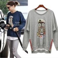 2014 spring women casual hoodie owl print o-neck pullover batwing sleeve loose sweatshirt 3 colors plus sizeH142511