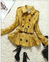 2014 New Autumn Winter Women's High Quality Brand Lace Trench Coat Free Shipping BR-17 Black Green Yellow