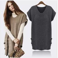 Hot Sale New 2014 Women Autumn Winter Knit Sweater Fashion Euramerican Style Short-Sleeve Loose Plus Size Knit Dress WJ982S14250