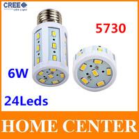 E27 Led 220V SMD 5730 6W 24leds Corn Bulb Led Lamp Led bulb spotlight  warm white cold white bulb with tracking number