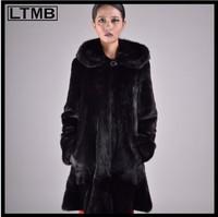 LTMB 2014 new design long MINK FUR COAT with fur hood Sable mink fur coat for ladies