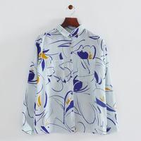 2014 Girls Fashion Flowers Prints Long sleeve Turn-Down Collar Shirts Ladies Casual Chiffon Blouses with Knots&Pocket 1010305103