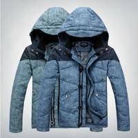 2014 New Men's Fahsion Casual Down slim Jacket korean patchwork style Grey duck down Hooded collar men's jacket