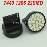 Wholesale!! 500pcs/lot T20 7440 22SMD 1206 Brake light 7440 Turning Parking Lamp 12V Tail Light Backup Lamp Reversing Light