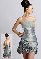 vestido de festa longo 2015 Sheath Straplee taffeta hand flower Sequined Silver Mini Bridesmaid Dresses Short