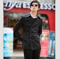 Mens Fashion Slim Fit Trench Coat Winter  Jacket Outwear Overcoat Black New Hot Fashion New Cool