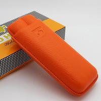 COHIBA Orange Soft Leather Cigar Case Holder 2 Tube W/ Fancy Gift Box